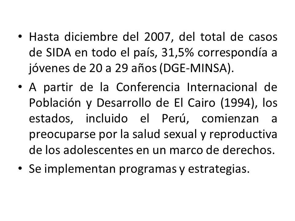 Hasta diciembre del 2007, del total de casos de SIDA en todo el país, 31,5% correspondía a jóvenes de 20 a 29 años (DGE-MINSA).