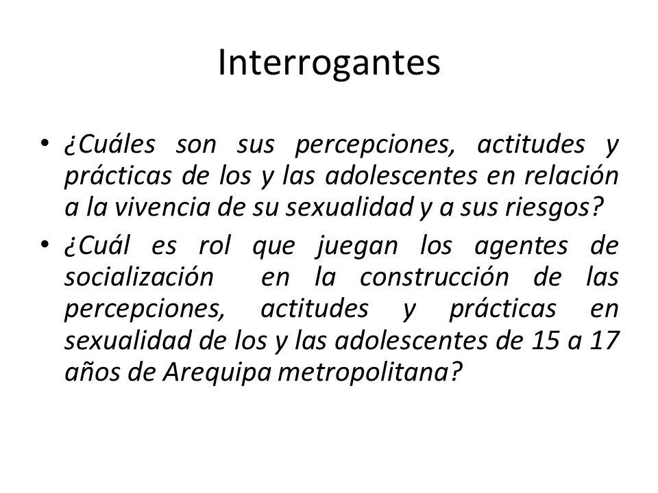 Interrogantes ¿Cuáles son sus percepciones, actitudes y prácticas de los y las adolescentes en relación a la vivencia de su sexualidad y a sus riesgos.
