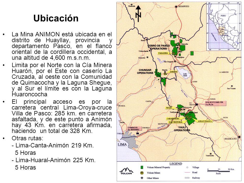 Ubicación La Mina ANIMON está ubicada en el distrito de Huayllay, provincia y departamento Pasco, en el flanco oriental de la cordillera occidental, a una altitud de 4,600 m.s.n.m.