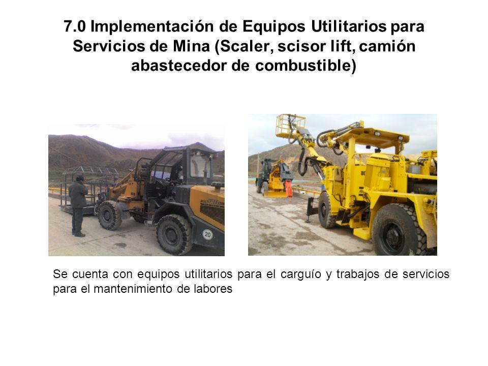 6.0 Mejora de Infraestructura de talleres, comedores y bodegas en interior de la mina Con la ejecución de comedores y talleres en interior de mina, se