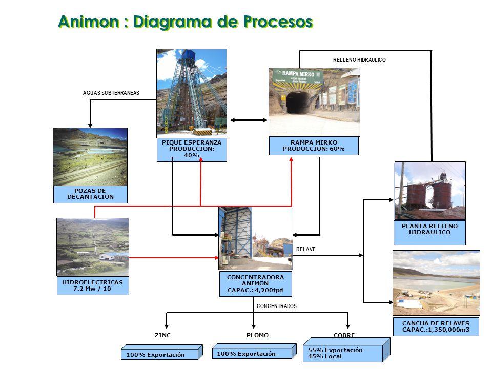 HIDROELECTRICAS 7.2 Mw / 10 RAMPA MIRKO PRODUCCION: 60% PIQUE ESPERANZA PRODUCCION: 40% CONCENTRADORA ANIMON CAPAC.: 4,200tpd CANCHA DE RELAVES CAPAC.:1,350,000m3 PLANTA RELLENO HIDRAULICO POZAS DE DECANTACION 100% Exportación ZINC 100% Exportación PLOMO 55% Exportación 45% Local COBRE RELAVE RELLENO HIDRAULICO AGUAS SUBTERRANEAS CONCENTRADOS Animon : Diagrama de Procesos