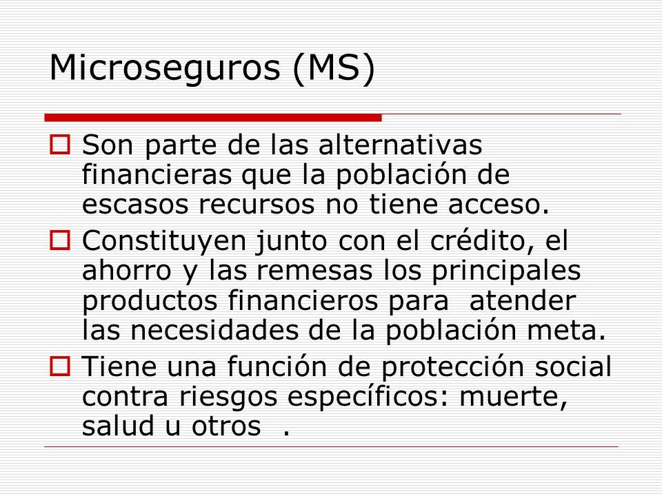 Microseguros (MS) Son parte de las alternativas financieras que la población de escasos recursos no tiene acceso.