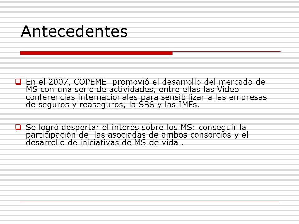 En el 2007, COPEME promovió el desarrollo del mercado de MS con una serie de actividades, entre ellas las Video conferencias internacionales para sensibilizar a las empresas de seguros y reaseguros, la SBS y las IMFs.