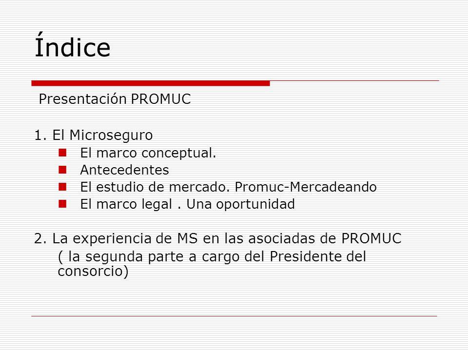 Índice Presentación PROMUC 1. El Microseguro El marco conceptual.