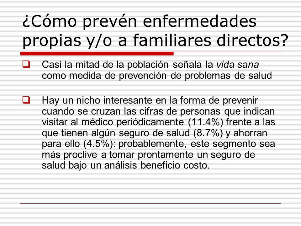 ¿Cómo prevén enfermedades propias y/o a familiares directos.