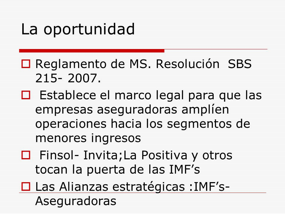 La oportunidad Reglamento de MS. Resolución SBS 215- 2007.