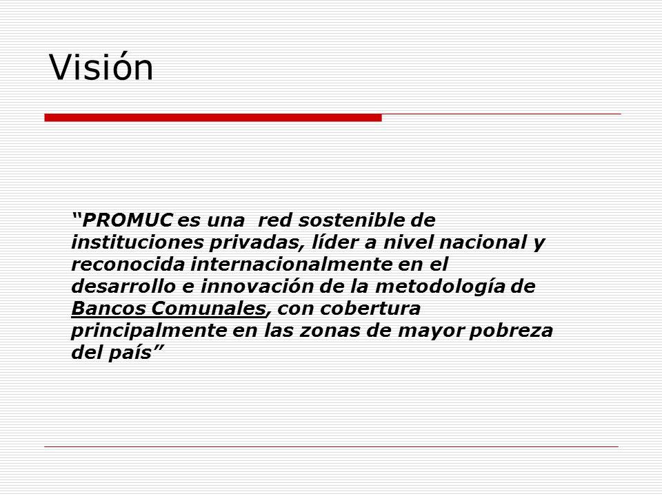 PROMUC es una red sostenible de instituciones privadas, líder a nivel nacional y reconocida internacionalmente en el desarrollo e innovación de la metodología de Bancos Comunales, con cobertura principalmente en las zonas de mayor pobreza del país Visión