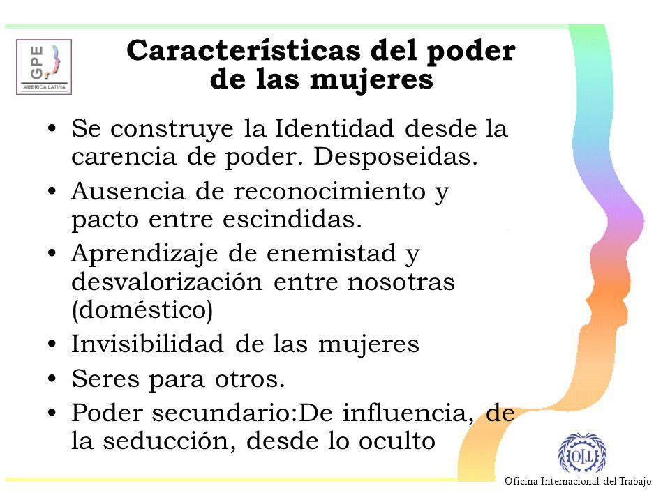 Oficina Internacional del Trabajo Características del poder de las mujeres Se construye la Identidad desde la carencia de poder.