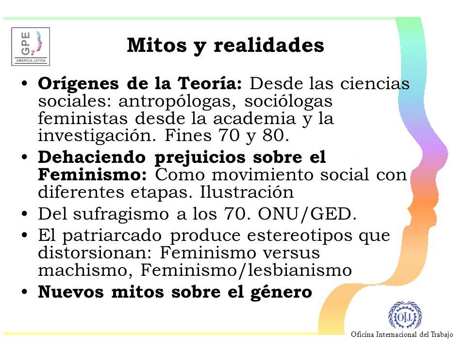 Oficina Internacional del Trabajo Mitos y realidades Orígenes de la Teoría: Desde las ciencias sociales: antropólogas, sociólogas feministas desde la academia y la investigación.