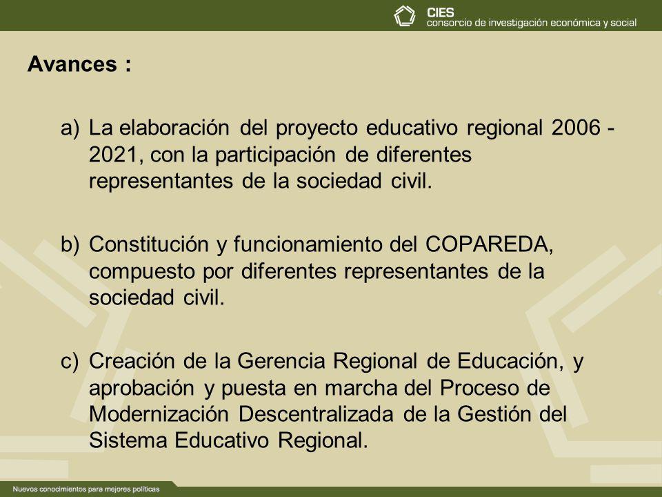 Avances : a)La elaboración del proyecto educativo regional 2006 - 2021, con la participación de diferentes representantes de la sociedad civil. b)Cons
