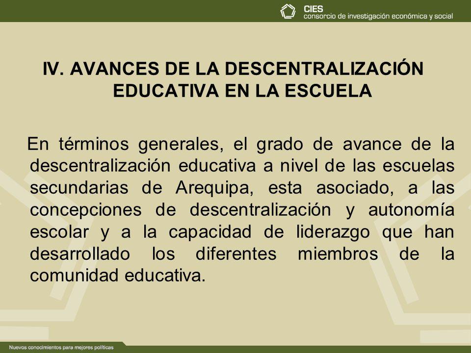 IV. AVANCES DE LA DESCENTRALIZACIÓN EDUCATIVA EN LA ESCUELA En términos generales, el grado de avance de la descentralización educativa a nivel de las