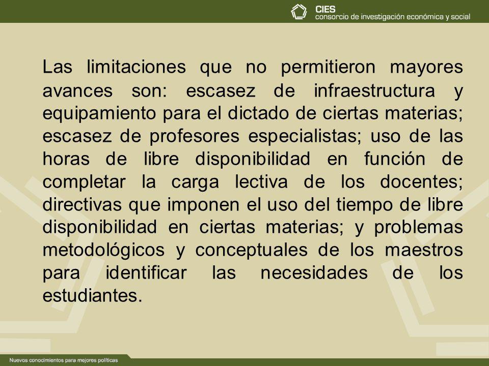 Las limitaciones que no permitieron mayores avances son: escasez de infraestructura y equipamiento para el dictado de ciertas materias; escasez de pro