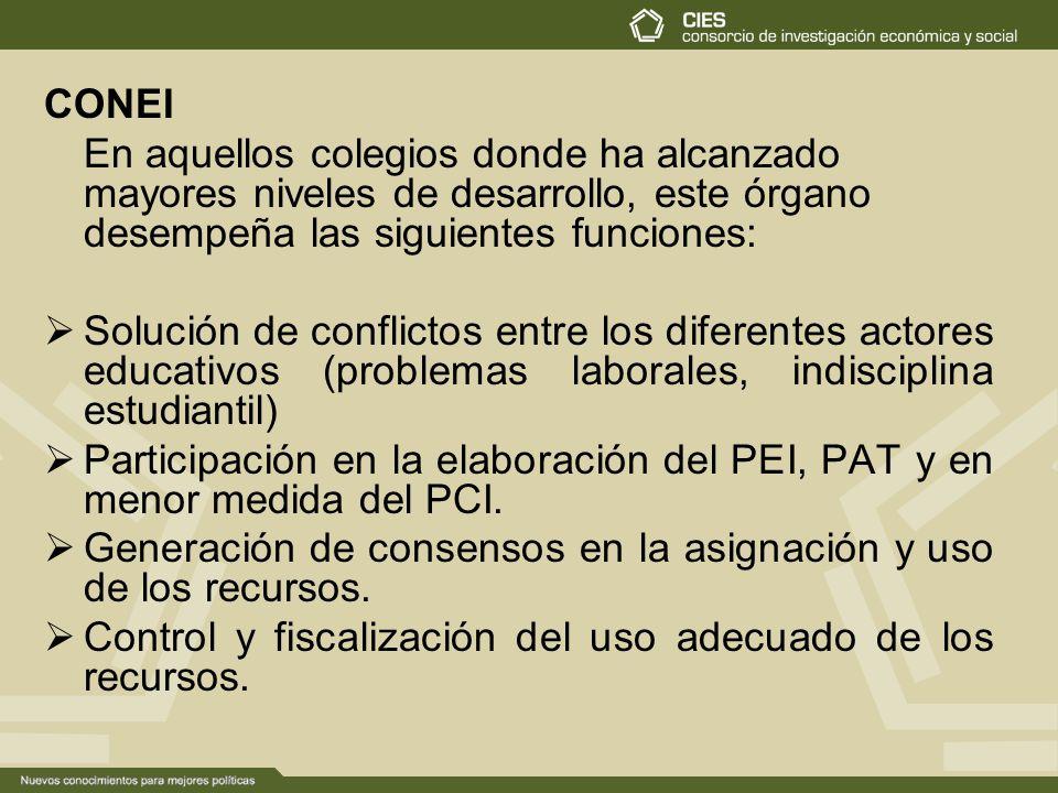 CONEI En aquellos colegios donde ha alcanzado mayores niveles de desarrollo, este órgano desempeña las siguientes funciones: Solución de conflictos entre los diferentes actores educativos (problemas laborales, indisciplina estudiantil) Participación en la elaboración del PEI, PAT y en menor medida del PCI.