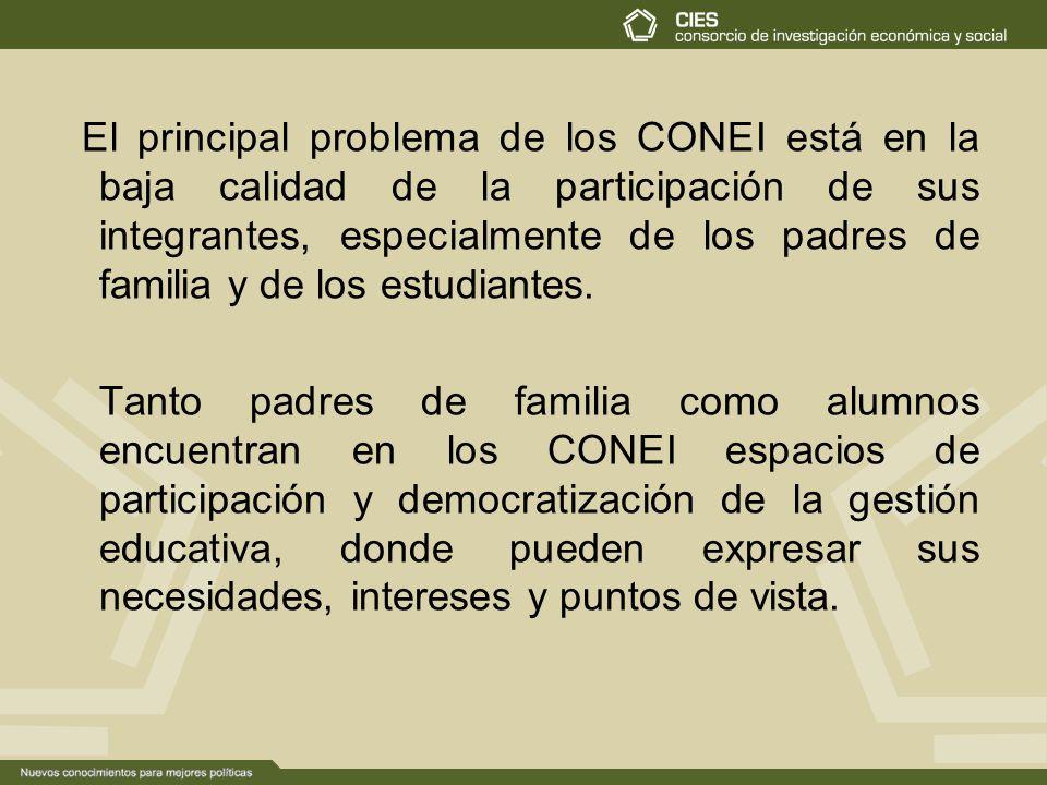 El principal problema de los CONEI está en la baja calidad de la participación de sus integrantes, especialmente de los padres de familia y de los estudiantes.
