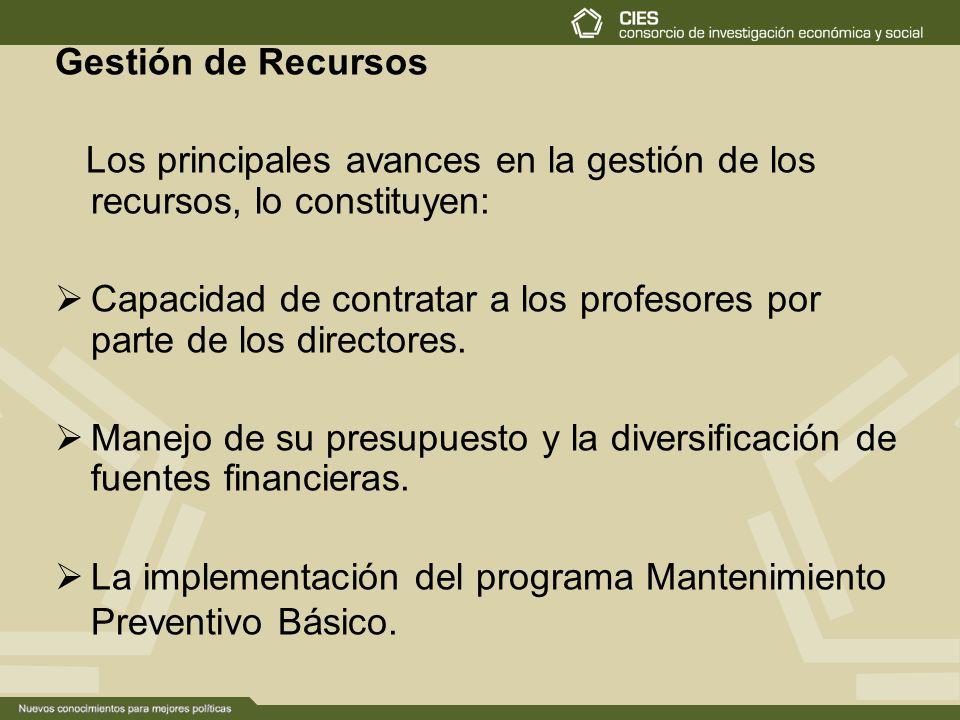 Gestión de Recursos Los principales avances en la gestión de los recursos, lo constituyen: Capacidad de contratar a los profesores por parte de los directores.