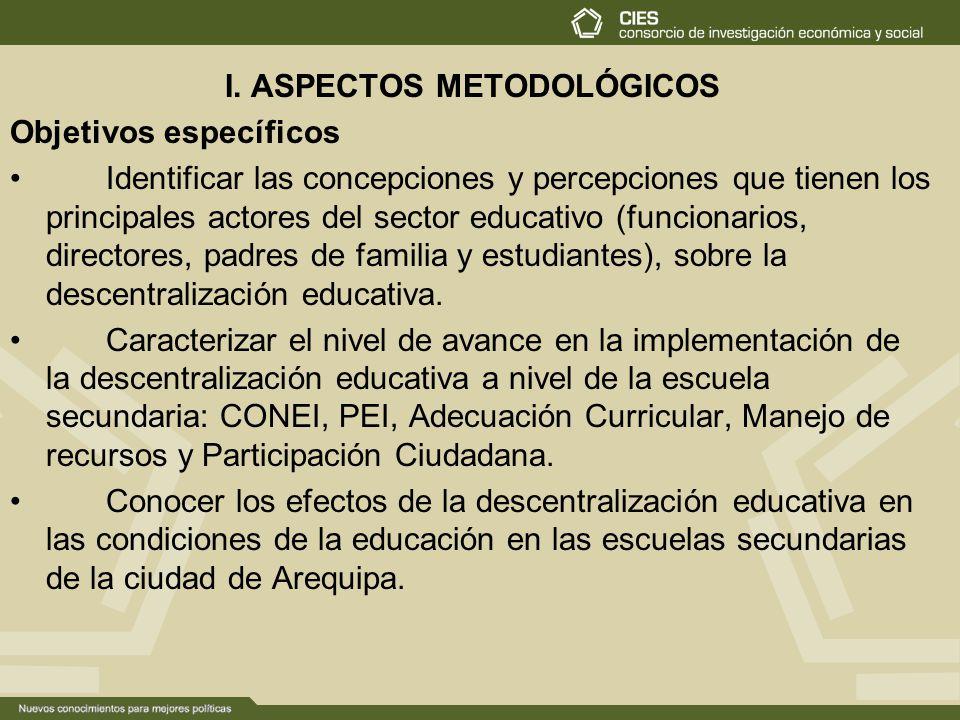 I. ASPECTOS METODOLÓGICOS Objetivos específicos Identificar las concepciones y percepciones que tienen los principales actores del sector educativo (f