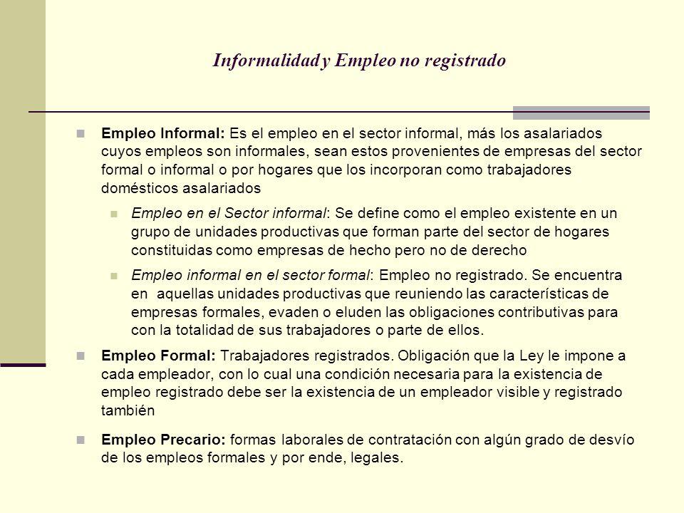 Informalidad y Empleo no registrado Empleo Informal: Es el empleo en el sector informal, más los asalariados cuyos empleos son informales, sean estos