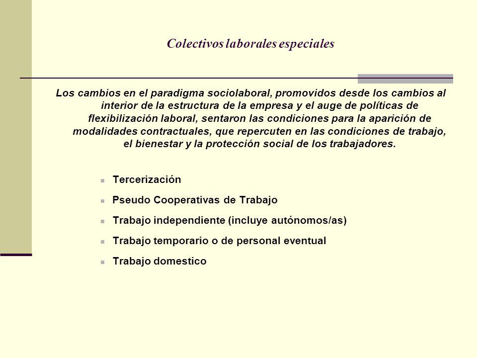 Colectivos laborales especiales Los cambios en el paradigma sociolaboral, promovidos desde los cambios al interior de la estructura de la empresa y el