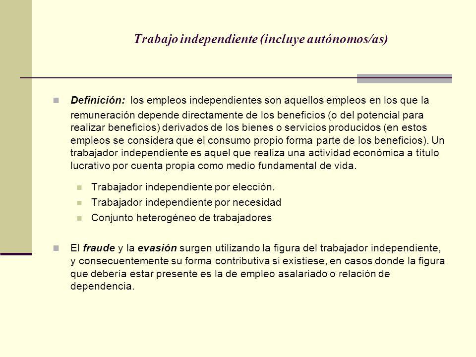 Trabajo independiente (incluye autónomos/as) Definición: los empleos independientes son aquellos empleos en los que la remuneración depende directamen