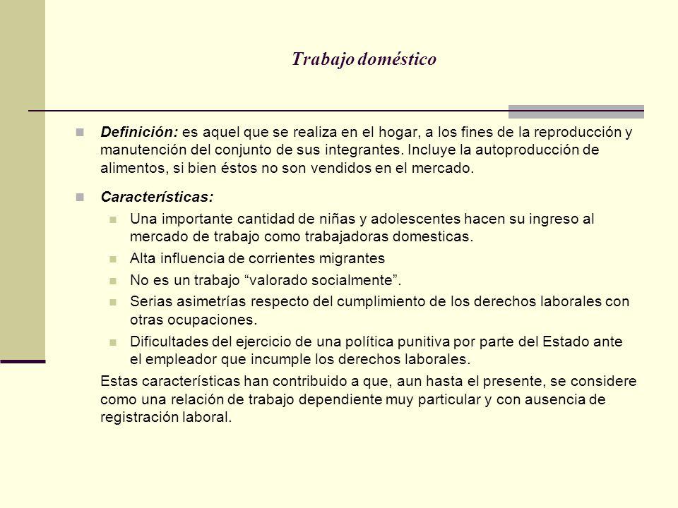 Trabajo doméstico Definición: es aquel que se realiza en el hogar, a los fines de la reproducción y manutención del conjunto de sus integrantes. Inclu