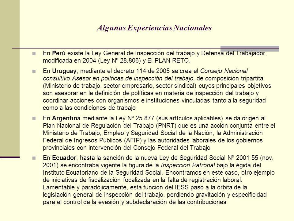 Algunas Experiencias Nacionales En Perú existe la Ley General de Inspección del trabajo y Defensa del Trabajador, modificada en 2004 (Ley Nº 28.806) y