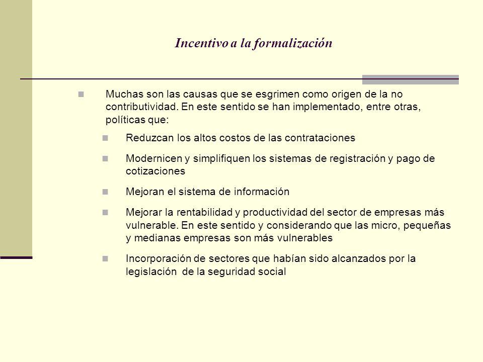 Incentivo a la formalización Muchas son las causas que se esgrimen como origen de la no contributividad. En este sentido se han implementado, entre ot