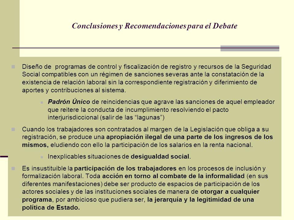 Conclusiones y Recomendaciones para el Debate Diseño de programas de control y fiscalización de registro y recursos de la Seguridad Social compatibles