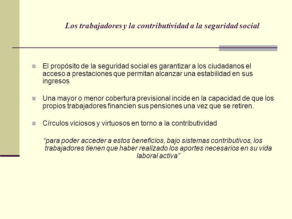 Los trabajadores y la contributividad a la seguridad social El propósito de la seguridad social es garantizar a los ciudadanos el acceso a prestacione