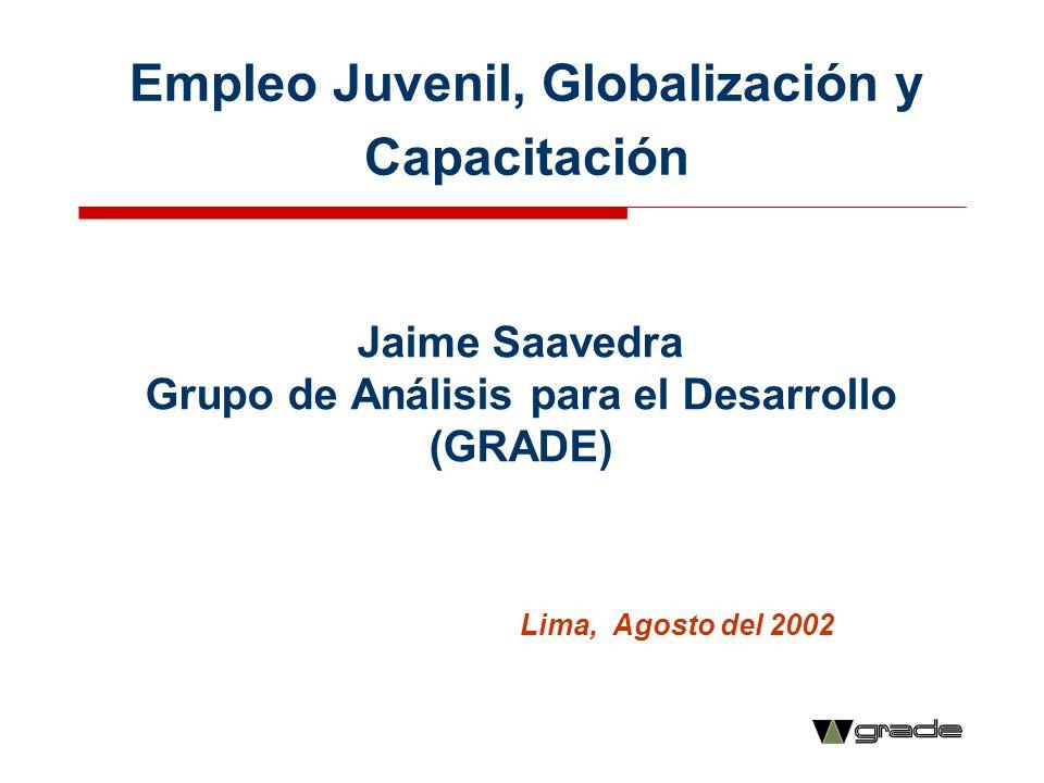 Empleo Juvenil, Globalización y Capacitación Jaime Saavedra Grupo de Análisis para el Desarrollo (GRADE) Lima, Agosto del 2002