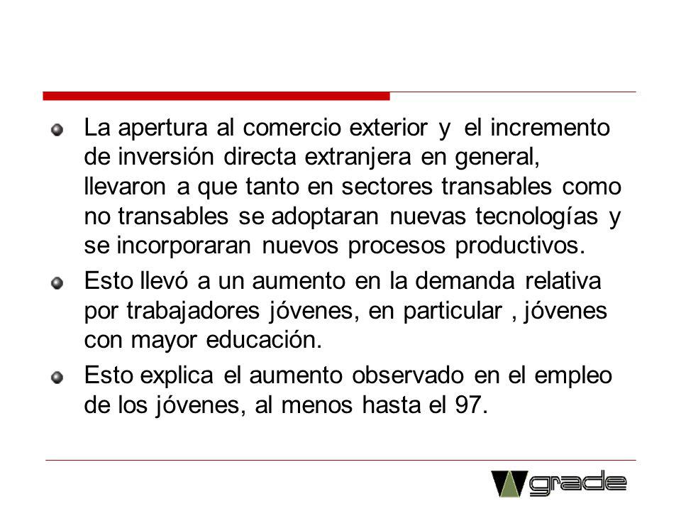 La apertura al comercio exterior y el incremento de inversión directa extranjera en general, llevaron a que tanto en sectores transables como no trans