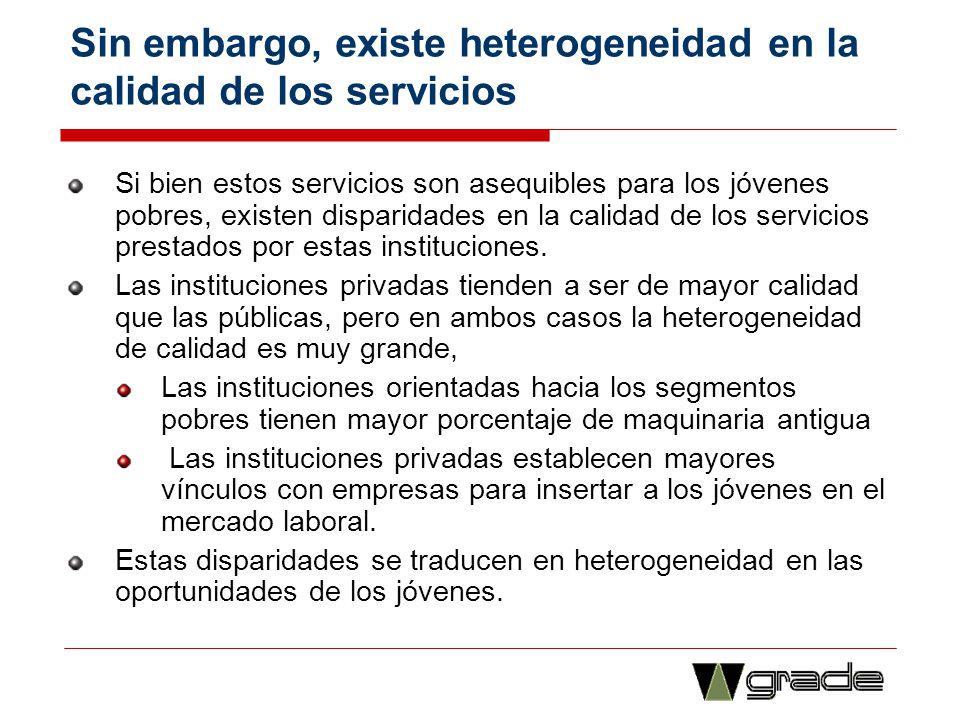 Sin embargo, existe heterogeneidad en la calidad de los servicios Si bien estos servicios son asequibles para los jóvenes pobres, existen disparidades