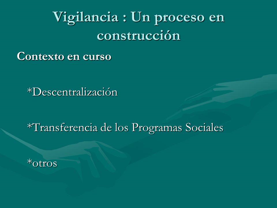 Vigilancia : Un proceso en construcción Contexto en curso *Descentralización *Transferencia de los Programas Sociales *otros
