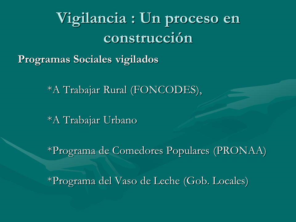 Vigilancia : Un proceso en construcción Programas Sociales vigilados *A Trabajar Rural (FONCODES), *A Trabajar Urbano *Programa de Comedores Populares (PRONAA) *Programa del Vaso de Leche (Gob.