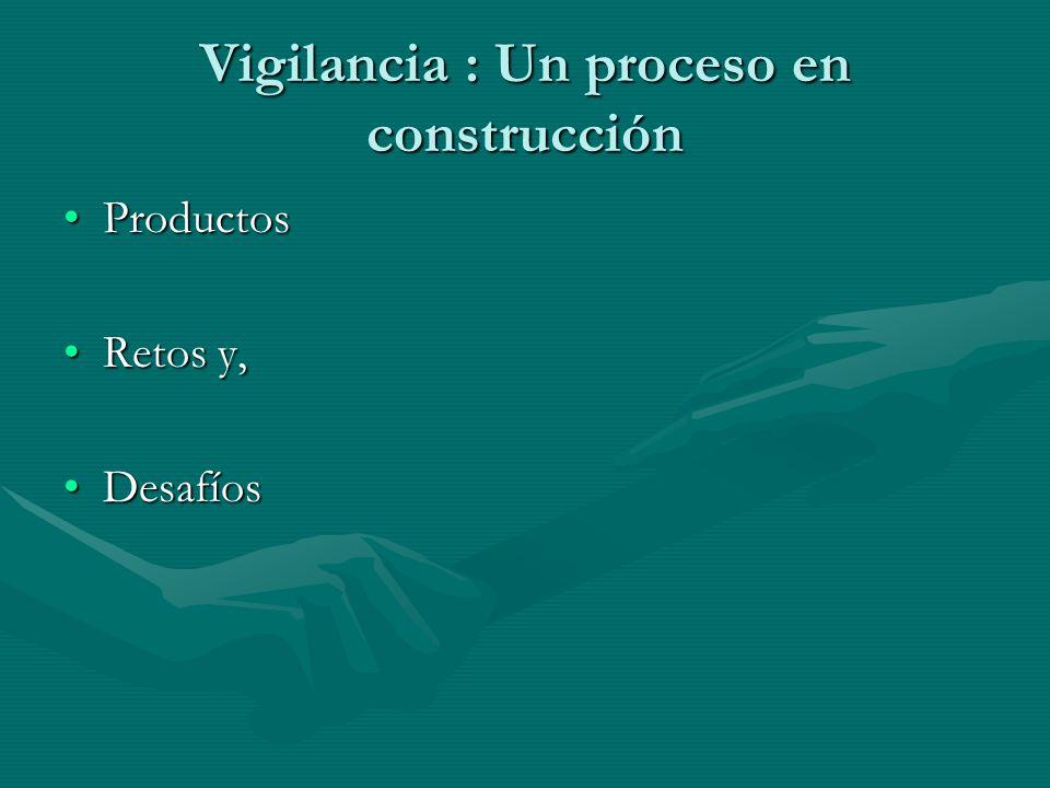 Vigilancia : Un proceso en construcción ProductosProductos Retos y,Retos y, DesafíosDesafíos