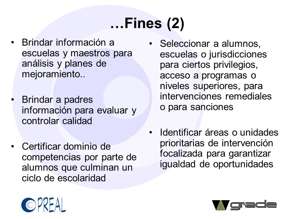 …Fines (2) Brindar información a escuelas y maestros para análisis y planes de mejoramiento.. Brindar a padres información para evaluar y controlar ca