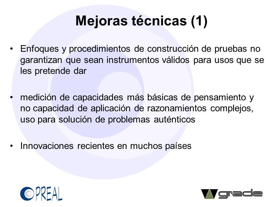 Mejoras técnicas (1) Enfoques y procedimientos de construcción de pruebas no garantizan que sean instrumentos válidos para usos que se les pretende da