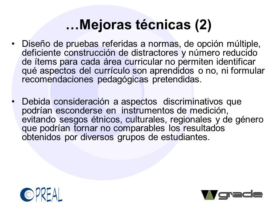 …Mejoras técnicas (2) Diseño de pruebas referidas a normas, de opción múltiple, deficiente construcción de distractores y número reducido de ítems par