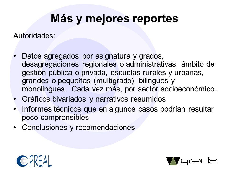 Más y mejores reportes Autoridades: Datos agregados por asignatura y grados, desagregaciones regionales o administrativas, ámbito de gestión pública o