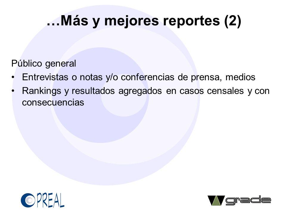 …Más y mejores reportes (2) Público general Entrevistas o notas y/o conferencias de prensa, medios Rankings y resultados agregados en casos censales y