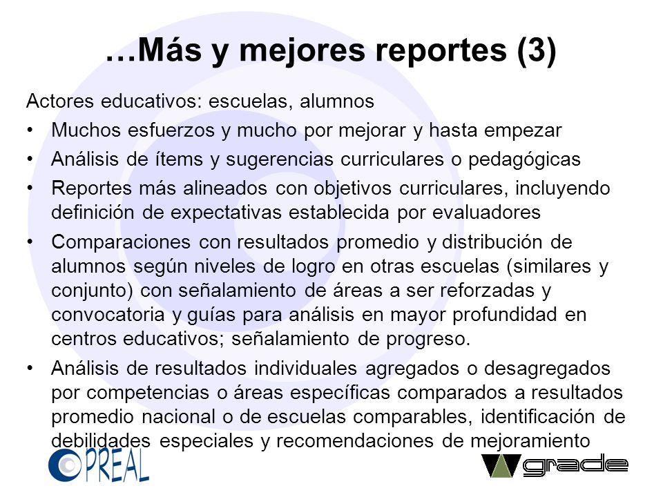 …Más y mejores reportes (3) Actores educativos: escuelas, alumnos Muchos esfuerzos y mucho por mejorar y hasta empezar Análisis de ítems y sugerencias