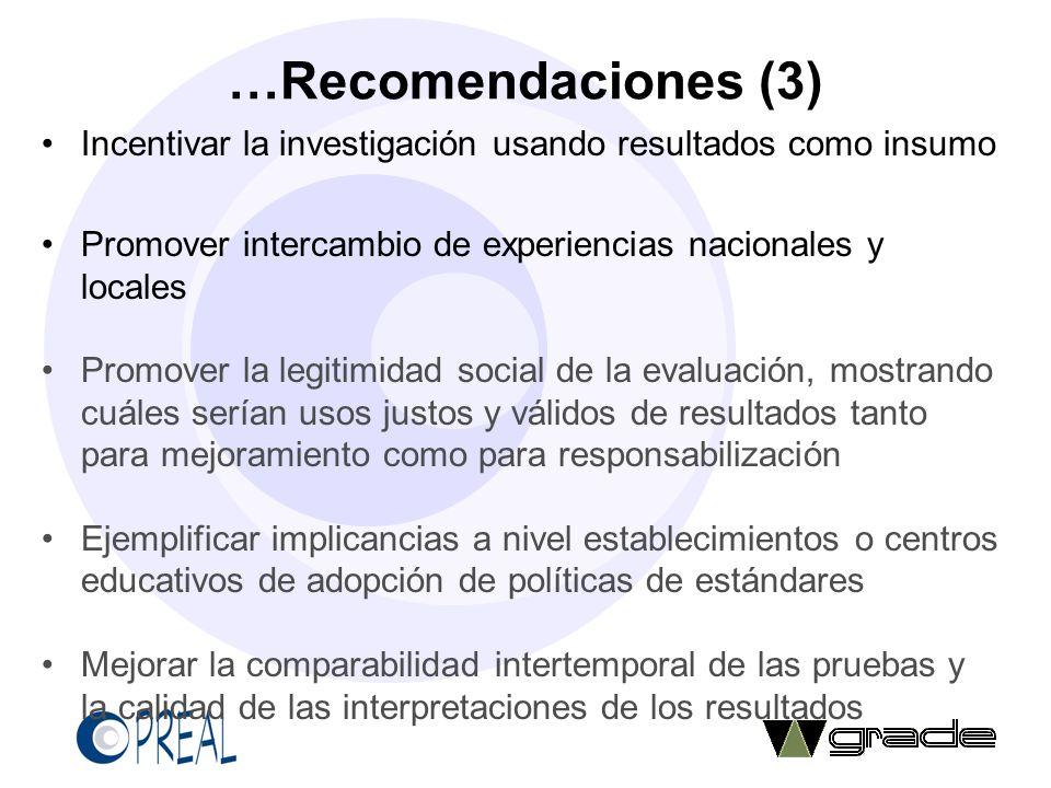 …Recomendaciones (3) Incentivar la investigación usando resultados como insumo Promover intercambio de experiencias nacionales y locales Promover la l