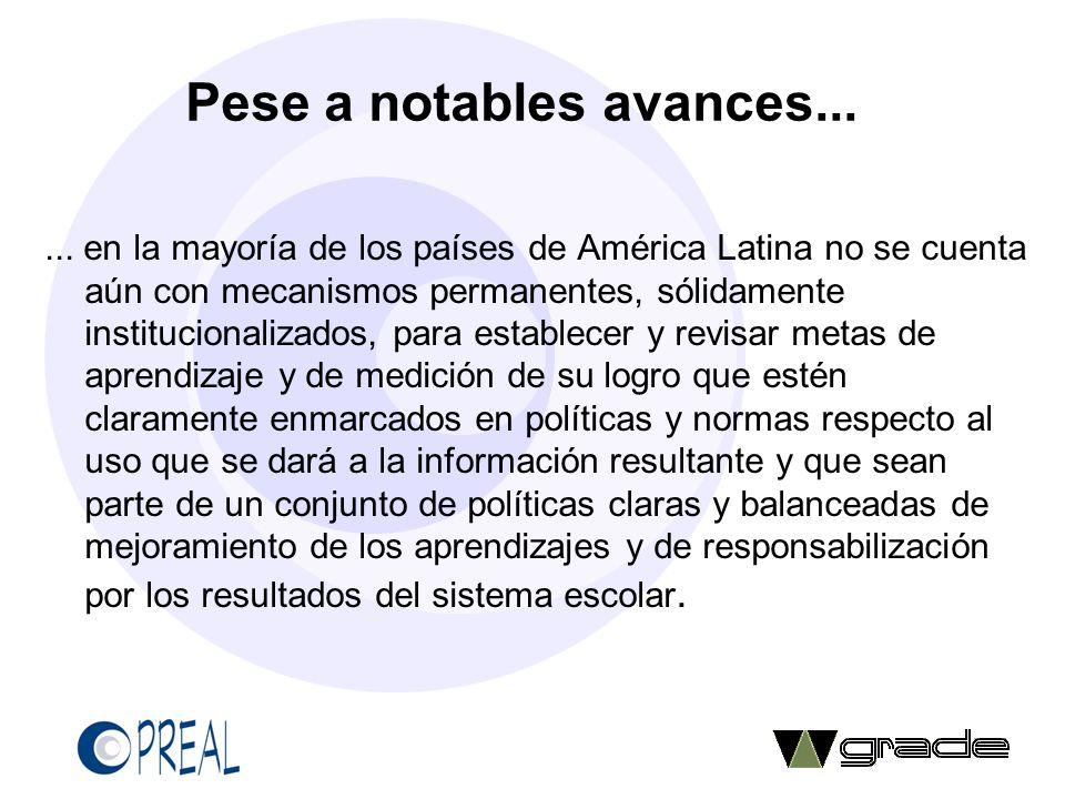 Pese a notables avances...... en la mayoría de los países de América Latina no se cuenta aún con mecanismos permanentes, sólidamente institucionalizad