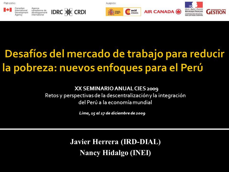 Javier Herrera (IRD-DIAL) Nancy Hidalgo (INEI) XX SEMINARIO ANUAL CIES 2009 Retos y perspectivas de la descentralización y la integración del Perú a la economía mundial Lima, 15 al 17 de diciembre de 2009