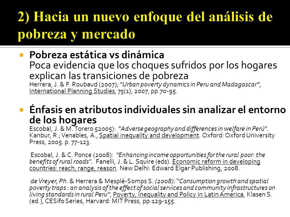 Pobreza estática vs dinámica Poca evidencia que los choques sufridos por los hogares explican las transiciones de pobreza Herrera, J.