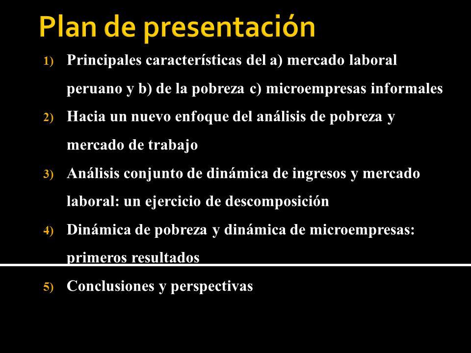 1) Principales características del a) mercado laboral peruano y b) de la pobreza c) microempresas informales 2) Hacia un nuevo enfoque del análisis de pobreza y mercado de trabajo 3) Análisis conjunto de dinámica de ingresos y mercado laboral: un ejercicio de descomposición 4) Dinámica de pobreza y dinámica de microempresas: primeros resultados 5) Conclusiones y perspectivas