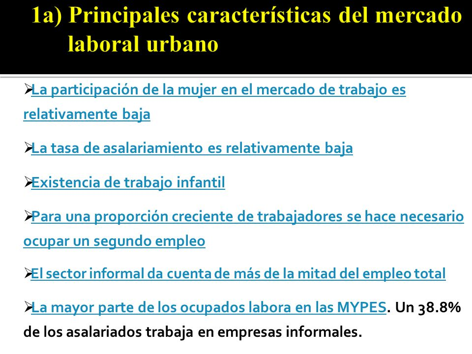 Perú Urbano: Promedio del valor agregado por hora de las Unidades Productivas Informales de la población ocupada de 14 años y más, por condición de pobreza según actividades realizadas por el negocio (Nuevos soles corrien tes) Actividades realizadas por el negocio 2002 1/ 20042005200620072008Promedio TOTAL3.70 3.173.874.254.813.98 Manufactura3.453.043.213.043.554.093.43 Comercio2.812.712.682.923.464.443.22 Servicios4.644.913.665.175.315.524.94 Actividades mixtas4.142.492.512.852.773.122.90 POBRE2.952.242.172.592.562.592.51 Manufactura3.692.472.312.233.652.772.87 Comercio2.161.821.831.912.062.091.97 Servicios3.462.542.433.432.502.942.88 Actividades mixtas1.691.512.202.061.661.591.77 NO POBRE4.134.473.654.374.765.404.56 Manufactura3.273.443.683.373.524.533.69 Comercio3.203.173.113.353.885.023.73 Servicios5.256.044.235.866.076.235.72 Actividades mixtas4.932.882.633.003.053.423.19 Fuente: INEI-Encuesta Nacional de Hogares ENAHO, IV Trim.2002, Annual 2004-2008.