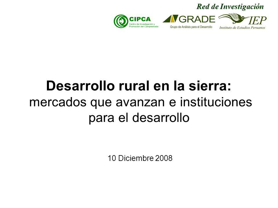 Desarrollo rural en la sierra: mercados que avanzan e instituciones para el desarrollo 10 Diciembre 2008 Red de Investigación