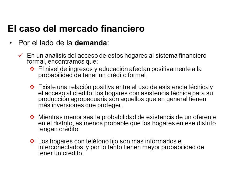 El caso del mercado financiero Por el lado de la demanda: En un análisis del acceso de estos hogares al sistema financiero formal, encontramos que: El