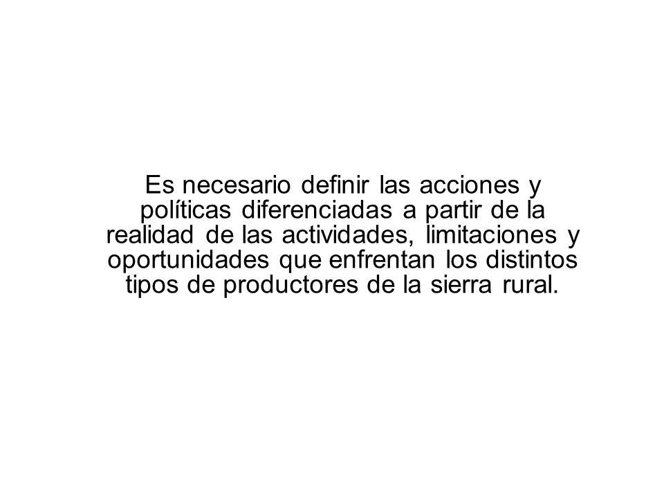 Es necesario definir las acciones y políticas diferenciadas a partir de la realidad de las actividades, limitaciones y oportunidades que enfrentan los distintos tipos de productores de la sierra rural.