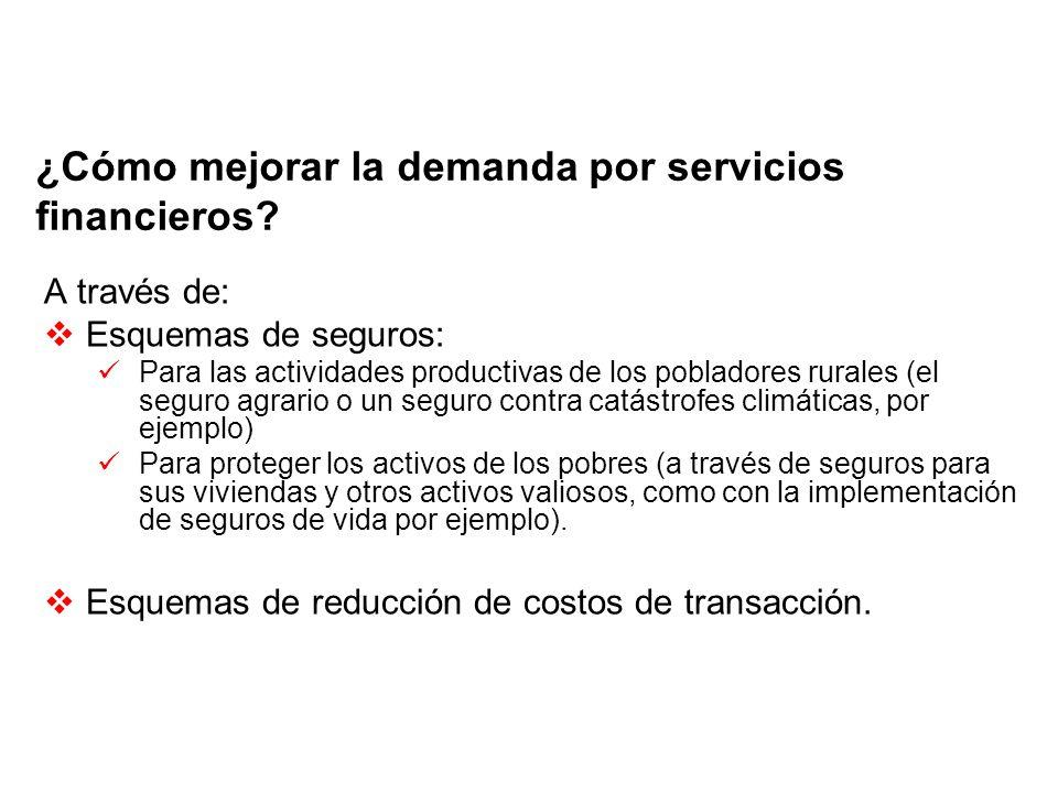 ¿Cómo mejorar la demanda por servicios financieros? A través de: Esquemas de seguros: Para las actividades productivas de los pobladores rurales (el s